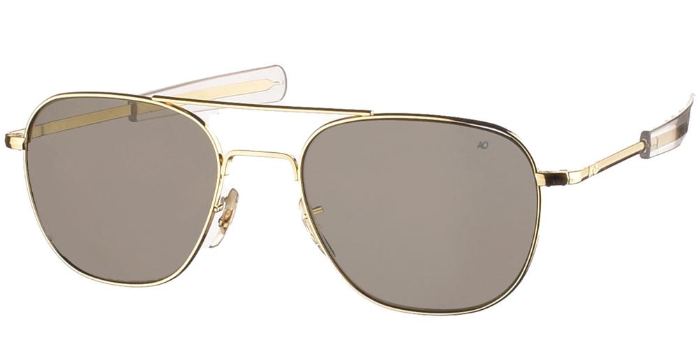 Μεταλλικά διαχρονικά χρυσά ανδρικά γυαλιά ηλίου Pilot 57 Gold της εταιρίας American Opticalμε κρυστάλλινους φακούς για μεσαία και μεγάλα πρόσωπα.