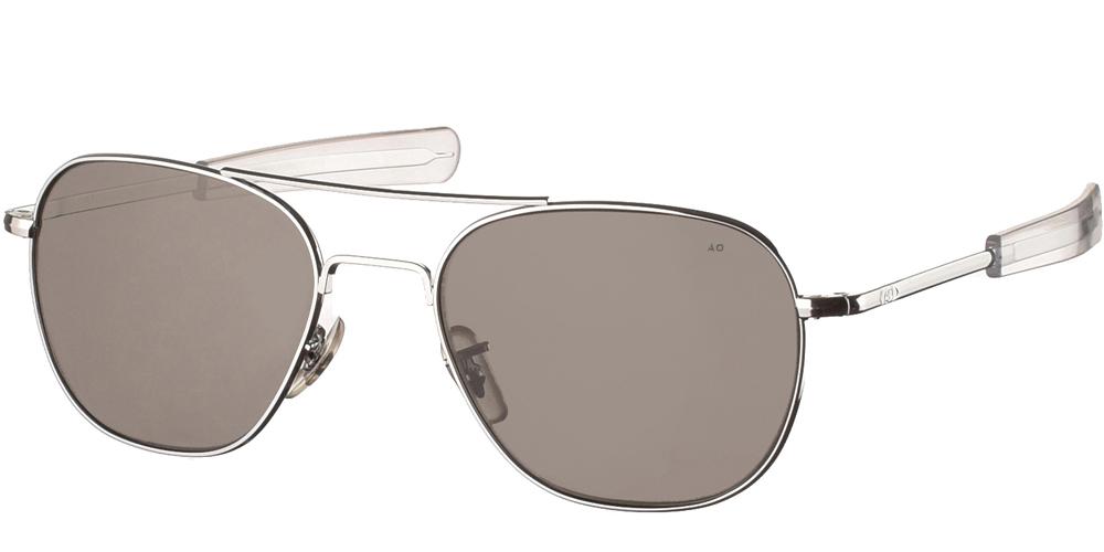 Μεταλλικά διαχρονικά ασημί ανδρικά γυαλιά ηλίου Pilot 57 Silver της εταιρίας American Opticalμε κρυστάλλινους φακούς για μεσαία και μεγάλα πρόσωπα.