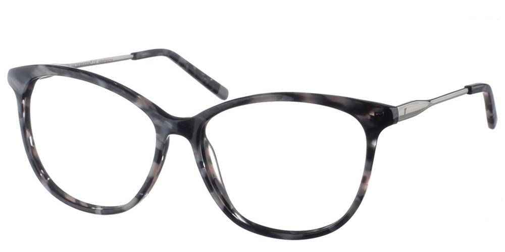 Γυναικεία κοκάλινα γυαλιά οράσεως σε σχήμα πεταλούδα Brixton Crydon BF0090 C2 με ασπρόμαυρο σκελετόκαι ασημί βραχίονες για όλα τα πρόσωπα.