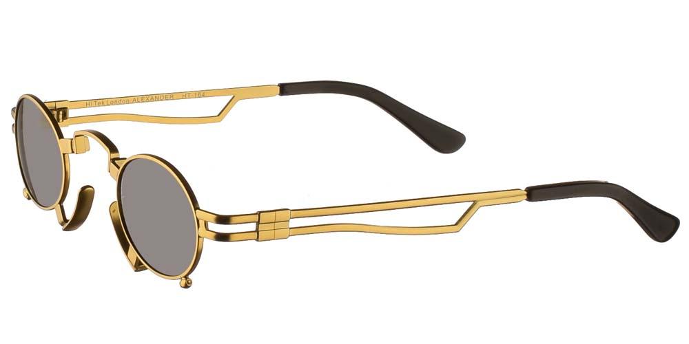 Στρογγυλά μικρά unisex gothic γυαλιά ηλίου HT 164 με χρυσό μεταλλικό σκελετό και σκούρους γκρι polarized φακούς της εταιρίας Hi Tek για όλα τα πρόσωπα.
