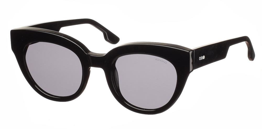 Γυναικεία κοκάλινα γυαλιά ηλίου πεταλούδα Komono Lucile Black σε μαύρο χρώμα και γκρι polarized φακούςγια όλα τα πρόσωπα.