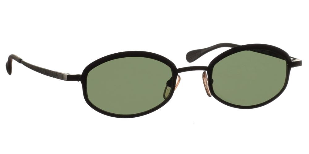 Μεταλλικά ανδρικά και γυναικεία γυαλιά ηλίου Original Vintage 4807 Black σε μαύρο ματ σκελετό και σκούρους πράσινους φακούςγια μικρά και μεσαία πρόσωπα.
