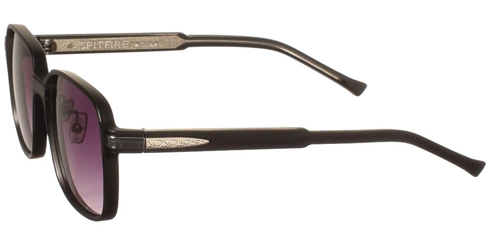 Τετράγωνα κοκάλινα ανδρικά και γυναικεία γυαλιά ηλίου Spitfire Beta Black σε μαύρο ματ σκελετό και γκρι ντεγκραντέ φακούς για μεσαία και μεγάλα πρόσωπα.