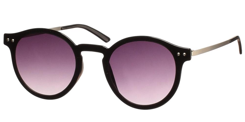 Ανδρικά και γυναικεία στρογγυλά γυαλιά ηλίου Spitfire British Summer Black Grey σε μαύρο σκελετό και γκρι ντεγκραντέ φακούςγια όλα τα πρόσωπα.