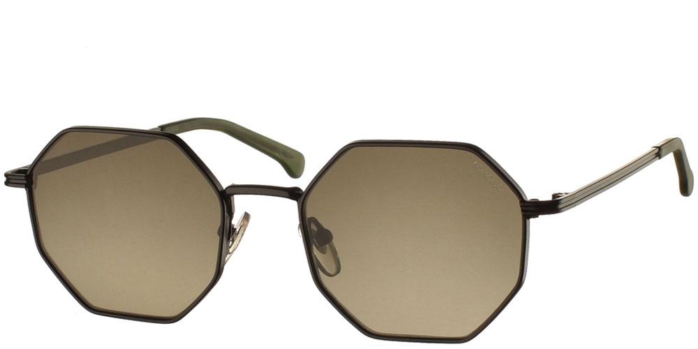 Γυναικεία και ανδρικά μεταλλικά πολυγωνικά γυαλιά ηλίου Komono Monroe Black Green σε μαύρο μεταλλικό χρώμα για όλα τα πρόσωπα.