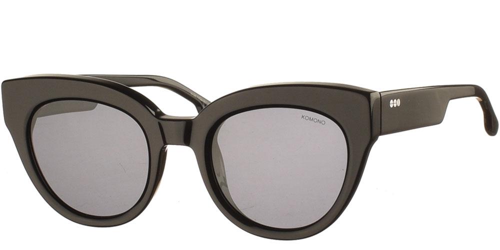 Γυναικεία κοκάλινα γυαλιά ηλίου πεταλούδα Lucile σε μαύρο χρώμα και γκρι polarized φακούς της εταιρίας Komonoγια όλα τα πρόσωπα.