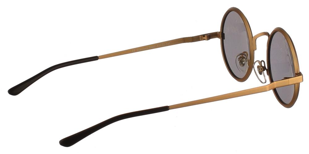 Στρογγυλά μεταλλικά ανδρικά και γυναικεία γυαλιά ηλίου Hi Tek HT1970 Gold με χρυσό μεταλλικό σκελετό και σκούρους γκρι polarized φακούςγια όλα τα πρόσωπα.