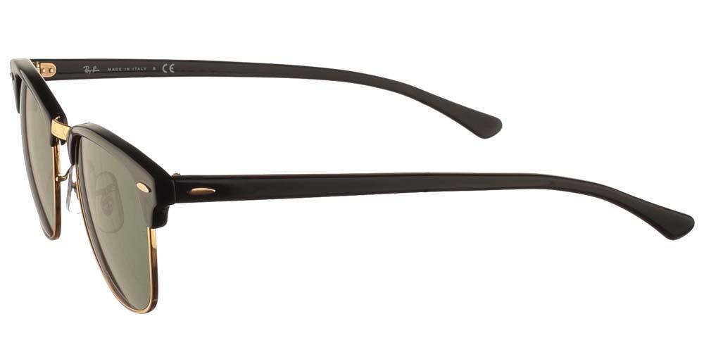 Τετράγωνα κλασικά unisex γυαλιά ηλίου RB 3016 Clubmaster σε μαύρο χρώμα, με χρυσές λεπτομέρειες και σκούρους πράσινους κρυστάλλους της εταιρίας Ray Banγια όλα τα πρόσωπα.