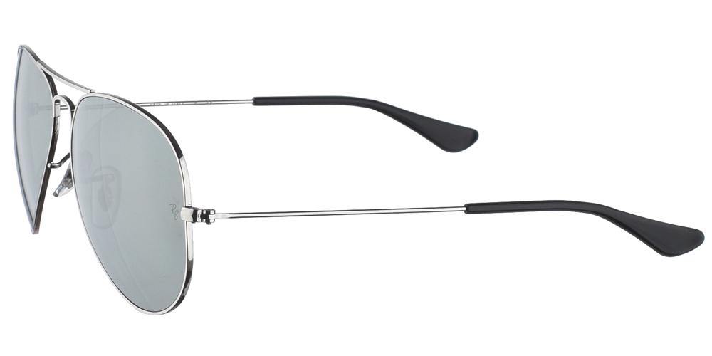 Διαχρονικά aviator γυαλιά ηλίου RB 3025 σε ασημί μεταλλικό σκελετό και ασημί κρυστάλλους της εταιρίας Ray Banγια μικρά και μεσαία πρόσωπα.