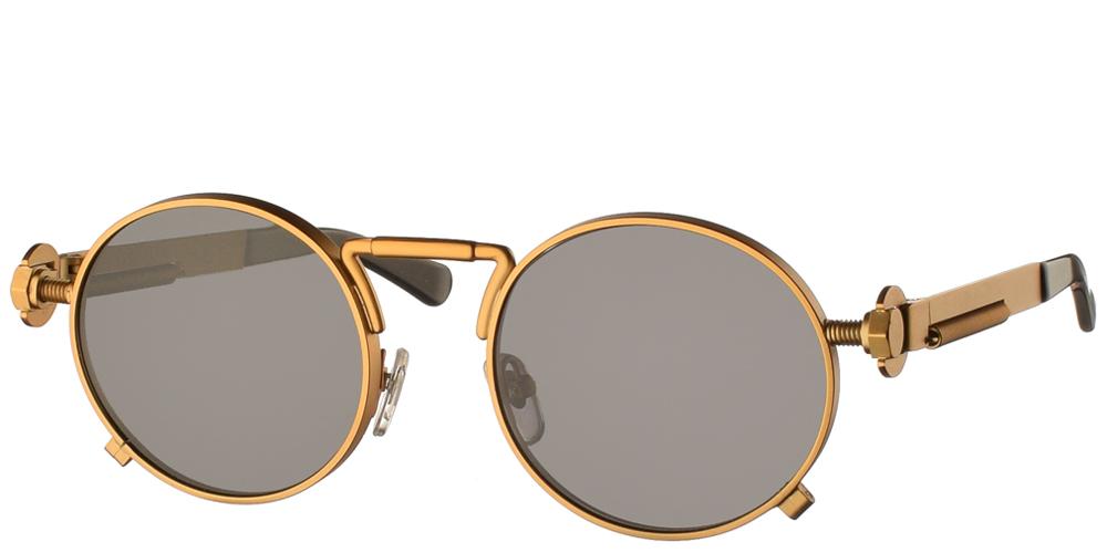 Στρογγυλά unisex μεταλλικά γυαλιά ηλίου HT 165 με ματ χρυσό μεταλλικό σκελετό και σκούρους γκρι polarized φακούς της εταιρίας Hi Tekγια μεσαία και μεγάλα πρόσωπα.