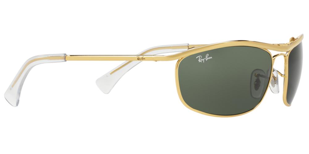 Τετράγωνα κλασικά unisex γυαλιά ηλίου RB 3119 Olympian 001 3N σε χρυσό μεταλλικό σκελετό και σκούρους πράσινους κρυστάλλους της εταιρίας Ray Banγια μικρά και μεσαία πρόσωπα.