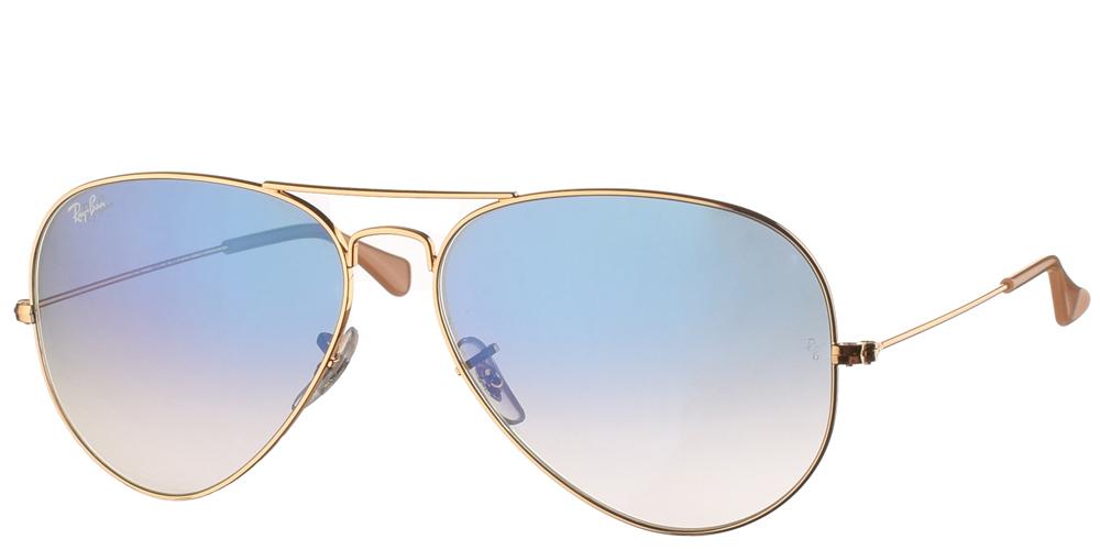 Διαχρονικά aviator γυαλιά ηλίου RB 3025 σε χρυσό μεταλλικό σκελετό και μπλε ντεγκραντέ κρυστάλλους της εταιρίας Ray Banγια μεσαία και μεγάλα πρόσωπα.