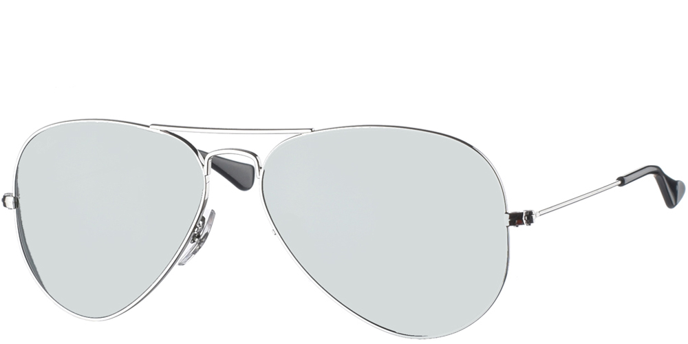 Διαχρονικά aviator γυαλιά ηλίου RB 3025 σε ασημί μεταλλικό σκελετό και ασημί κρυστάλλους της εταιρίας Ray Banγια μεσαία και μεγάλα πρόσωπα.