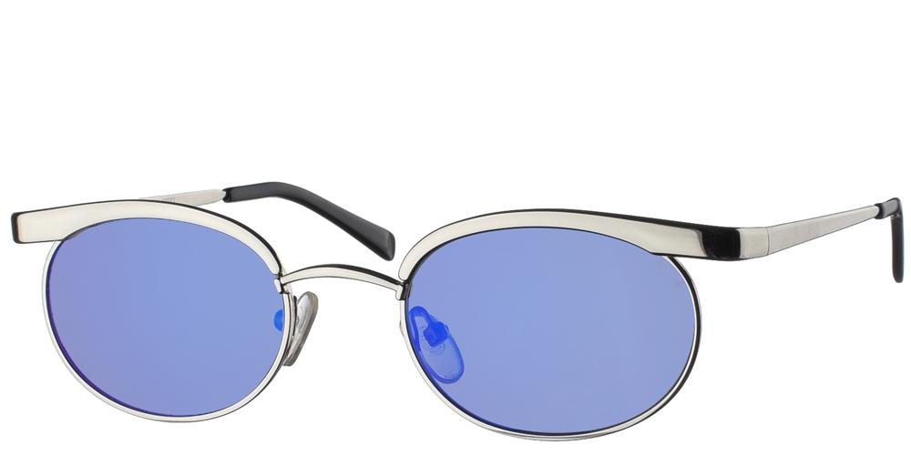 Μεταλλικά ανδρικά και γυναικεία γυαλιά ηλίου Hi Tek HT 35053 Silver με ασημί μεταλλικό σκελετό και απαλούς μπλε polarized καθρέφτεςγια όλα τα πρόσωπα.