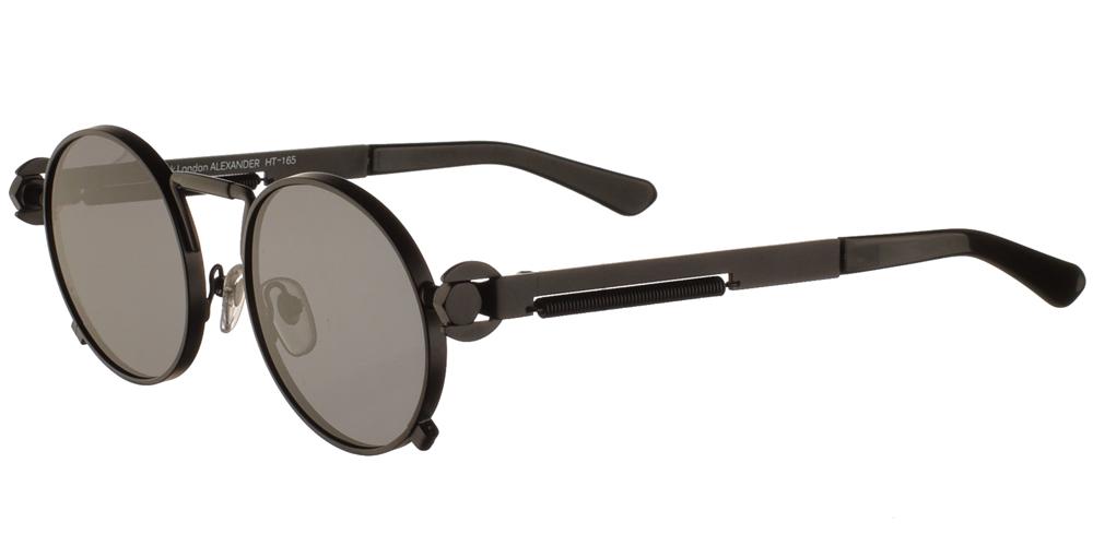 Στρογγυλά unisex μεταλλικά γυαλιά ηλίου HT 165 με ματ μαύρο μεταλλικό σκελετό και σκούρους γκρι polarized φακούς της εταιρίας Hi Tekγια μεσαία και μεγάλα πρόσωπα.