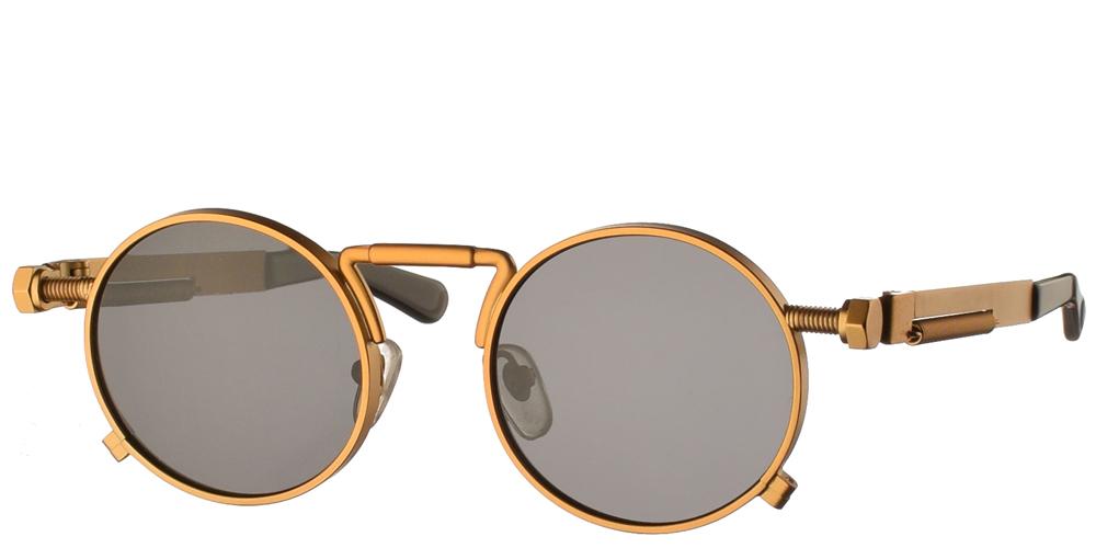 Steampunk στρογγυλά μεταλλικά ανδρικά και γυναικεία γυαλιά ηλίου Hitek Alexander 1985 Gold σε χρυσό ματ σκελετό και σκούρους γκρι polarized φακούς.