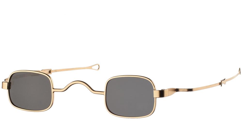 Μεταλλικά steampunk τετράγωνα ανδρικά και γυναικεία γυαλιά ηλίου Hitek Alexander GsSqad Gold σε χρυσό ματ σκελετό και σκούρους γκρι polarized φακούς.
