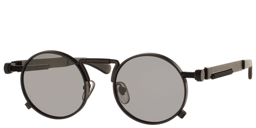 Στρογγυλά unisex μεταλλικά γυαλιά ηλίου HT 1985 με μαύρο ματ μεταλλικό σκελετό και σκούρους γκρι polarized φακούς της εταιρίας Hi Tekγια μικρά και μεσαία πρόσωπα.