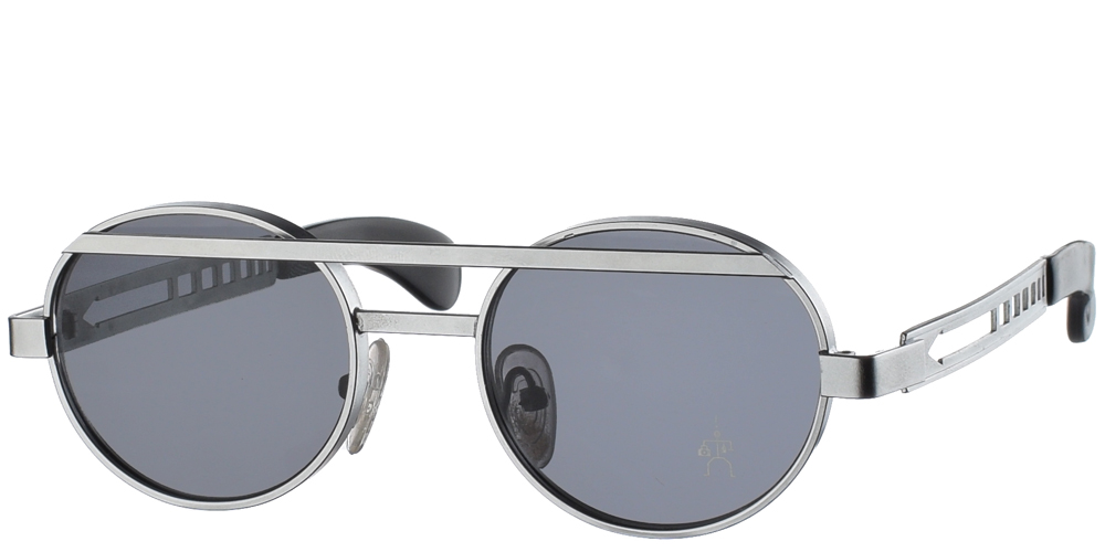 Στρογγυλά unisex μεταλλικά γυαλιά ηλίου HT 4002 σε ασημί μεταλλικό σκελετό και με διπλή μπάρα και σκούρους γκρι φακούς της εταιρίας Hi Tekγια μεσαία και μεγάλα πρόσωπα.