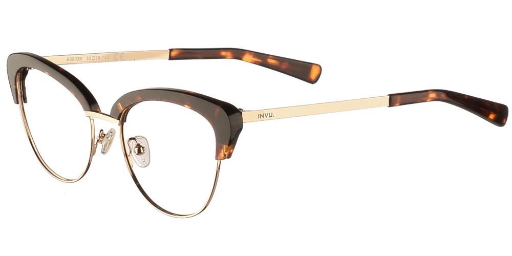 Γυναικεία γυαλιά οράσεως nylor πεταλούδα Invu B3803 B σε καφέ ταρταρούγα και χρυσό σκελετόγια μεσαία και μεγάλα πρόσωπα.