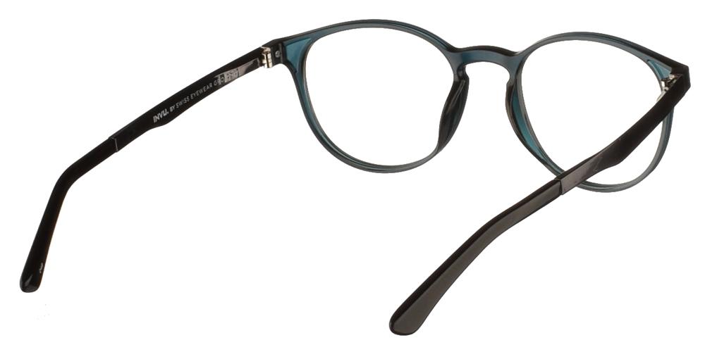 Στρογγυλά κοκάλινα ανδρικά και γυναικεία γυαλιά οράσεως Invu B4000 B με σκούρο πράσινο σκελετό για μικρά και μεσαία πρόσωπα.