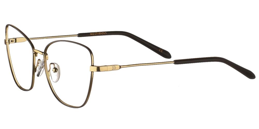 Γυναικεία μεταλλικά γυαλιά οράσεως σε σχήμα πεταλούδας No Idols Beyonce BEYO04 με μαύρο και χρυσό σκελετόγια όλα τα πρόσωπα.