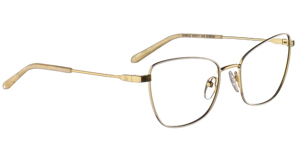 Γυναικεία μεταλλικά γυαλιά οράσεως σε σχήμα πεταλούδας No Idols Gisele GISE05 με λευκό και χρυσό σκελετόγια μικρά και μεσαία πρόσωπα.