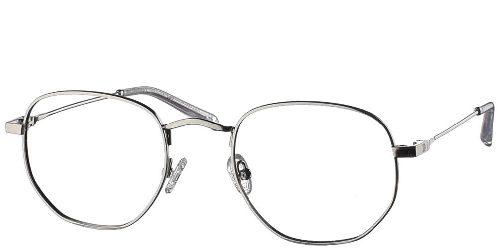 Μεταλλικά τετράγωνα ανδρικά και γυναικεία γυαλιά οράσεως No Idols Iggy IGG002 με ασημί σκελετόγια όλα τα πρόσωπα.