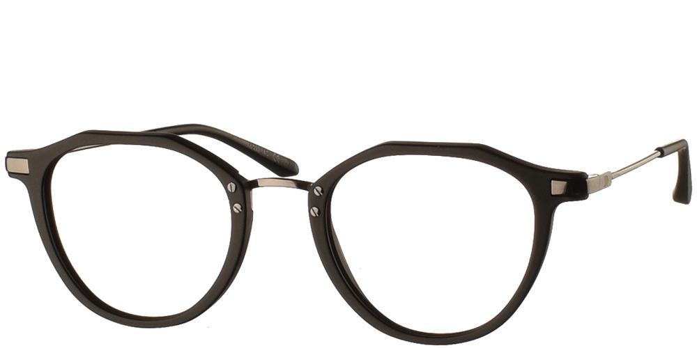 Κοκάλινα στρογγυλά ανδρικά και γυναικεία γυαλιά οράσεως No Idols Poirot TOPPOIR01 με μαύρο ματ σκελετό και ασημί λεπτομέρειες για όλα τα πρόσωπα.