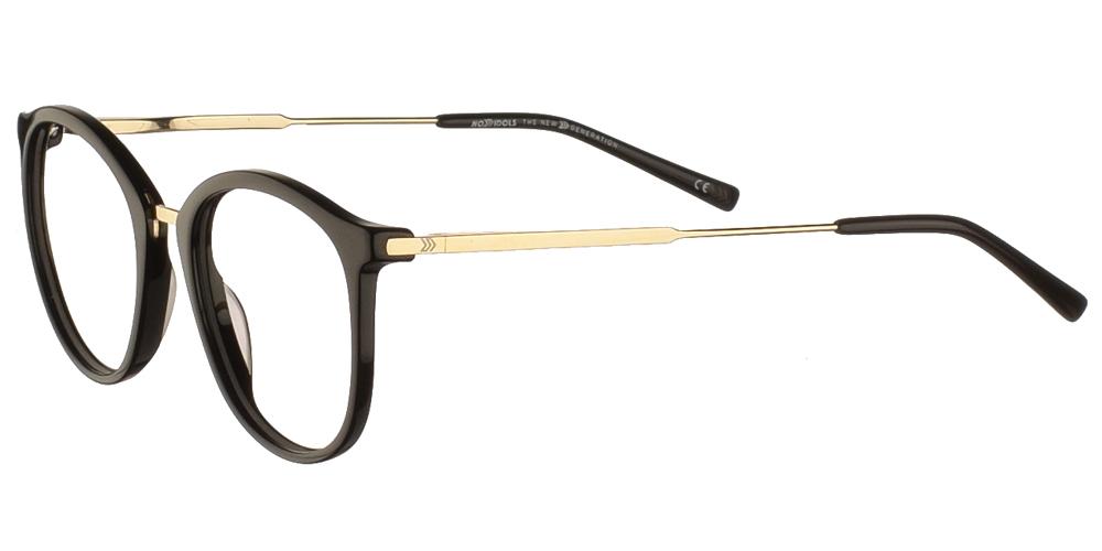 Κοκάλινα στρογγυλά ανδρικά και γυναικεία γυαλιά οράσεως No Idols Thurman ONETHUR01 με μαύρο σκελετό και χρυσές λεπτομέρειες για όλα τα πρόσωπα.