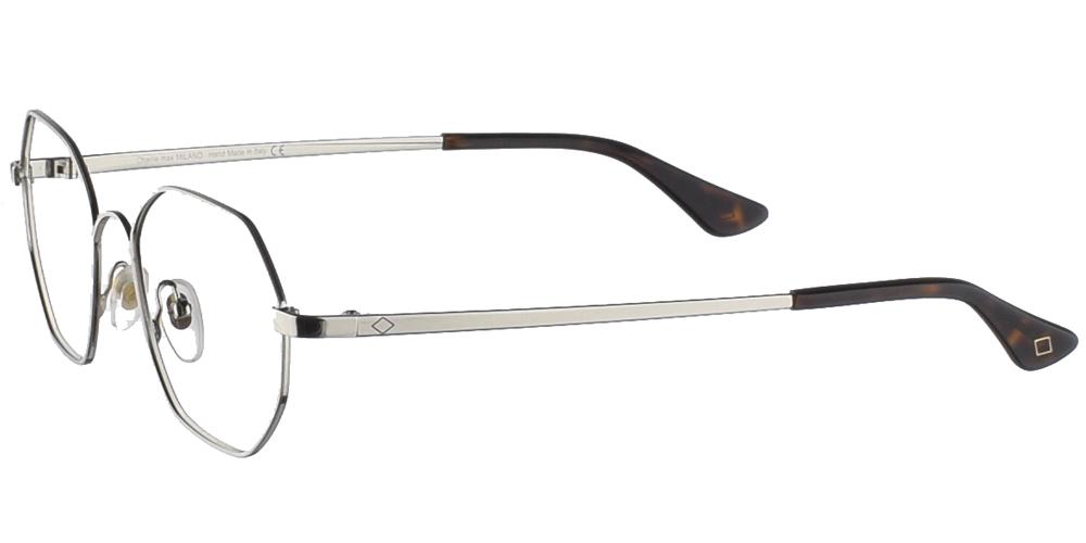 Πολυγωνικά μεταλλικά ανδρικά και γυναικεία γυαλιά οράσεως Charlie Max Bovisa SL σε ασημί χρώμαγια όλα τα πρόσωπα.