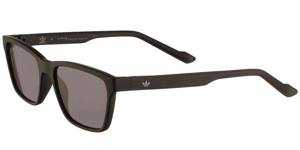 Ανδρικά και γυναικεία κοκάλινα τετράγωνα γυαλιά ηλίου Adidas Originals AOR027 009 σε μαύρο ματ χρώμα και επίπεδους σκουρόχρωμους γκρι φακούς.