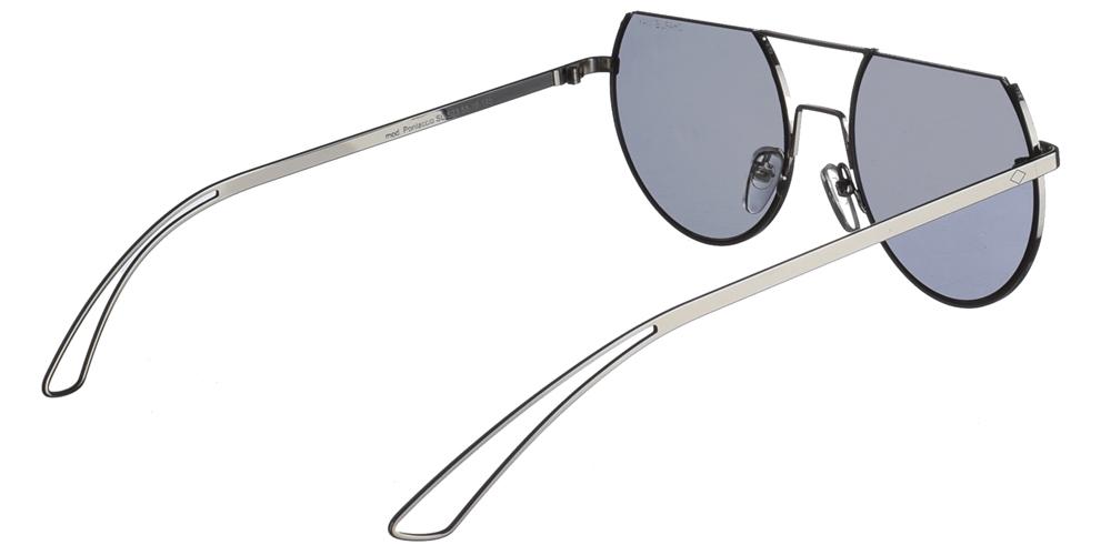 Χειροποίητα μεταλλικά ανδρικά και γυναικεία γυαλιά ηλίου Charlie Max Pontaccio SLS23 σε ασημί σκελετό και επίπεδους ασημί καθρέφτεςγια όλα τα πρόσωπα.