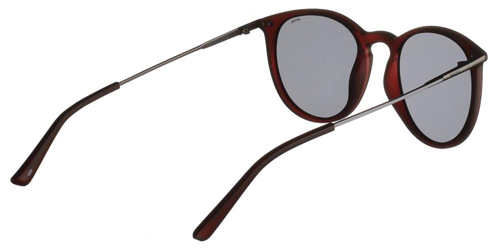 Διαχρονικά κοκάλινα ανδρικά γυαλιά ηλίου B2019 C σε σκούρο μπορντό ματ σκελετό με γκρι polarized φακούς της εταιρίας Invuγια όλα τα πρόσωπα.