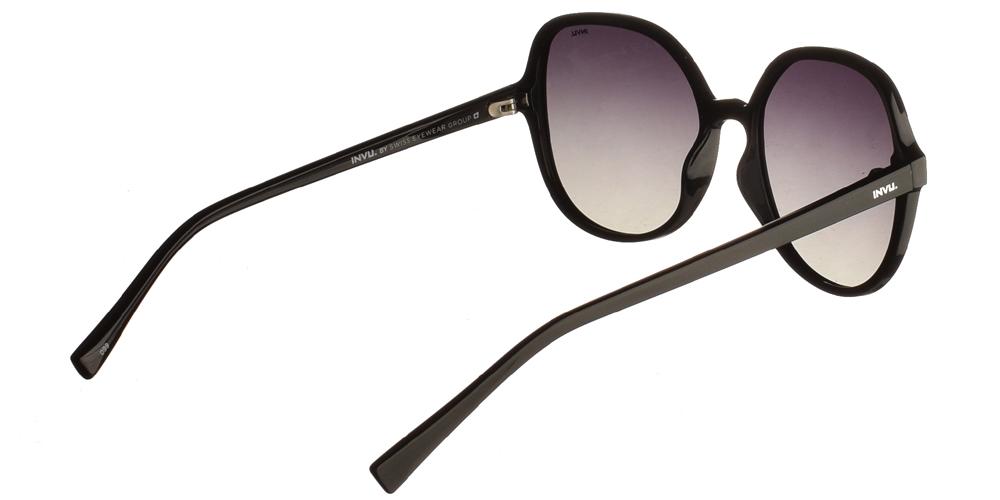 Διαχρονικά κοκάλινα γυναικεία γυαλιά ηλίου B2035 A σε μαύρο χρώμα με γκρι ντεγκραντέ polarized φακούς της εταιρίας Invu για μεσαία και μεγάλα πρόσωπα.