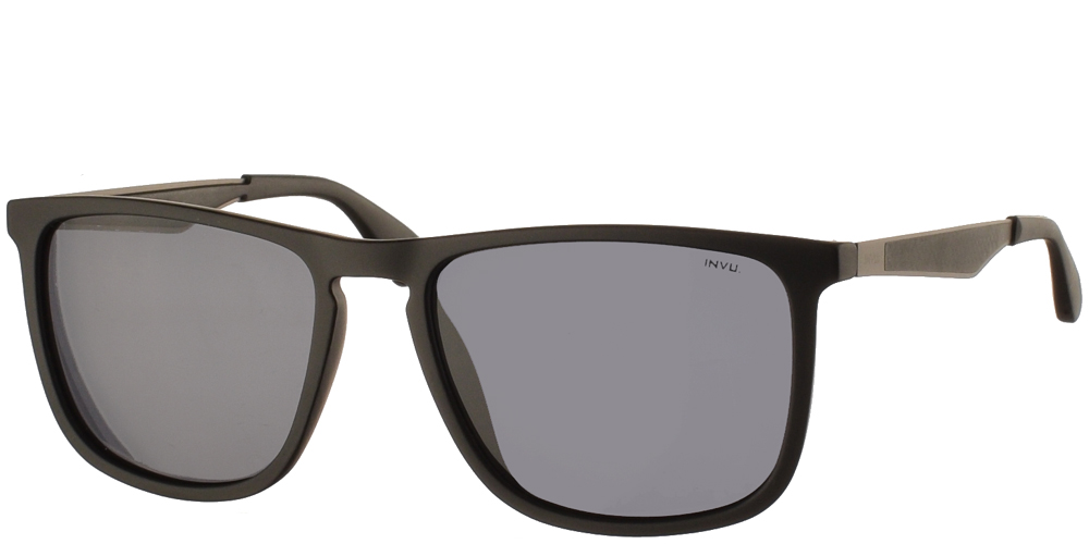 Διαχρονικά κοκάλινα ανδρικά γυαλιά ηλίου B2001 A σε μαύρο ματ σκελετό με γκρι polarized φακούς της εταιρίας Invuγια μεσαία και μεγάλα πρόσωπα.