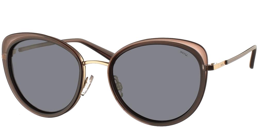 Διαχρονικά κοκάλινα γυναικεία γυαλιά ηλίου πεταλούδα B1027 σε καφέ σκελετό, με χρυσές λεπτομέρειες και με γκρι polarized φακούς της εταιρίας Invu για μεσαία και μεγάλα πρόσωπα.