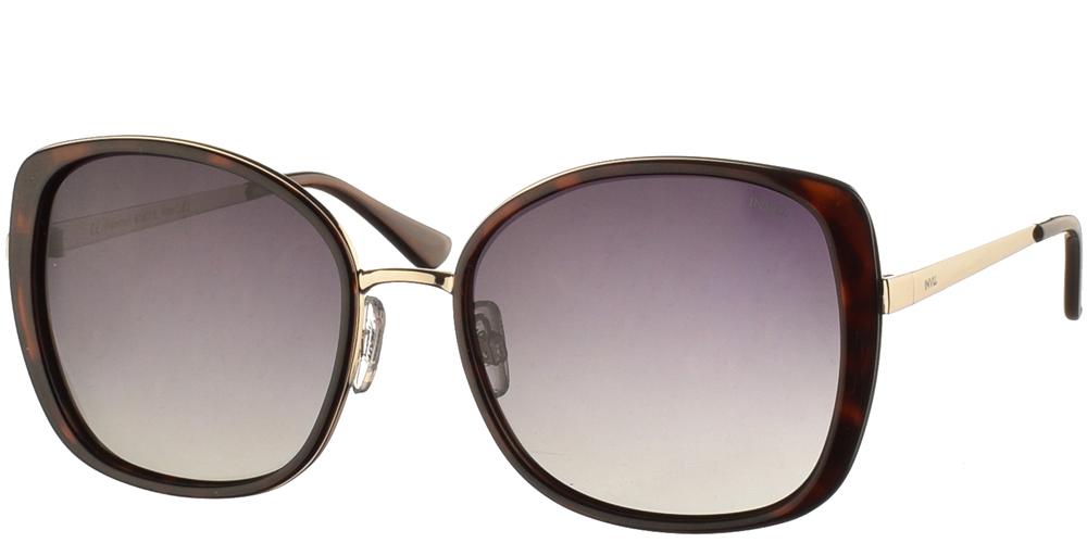Διαχρονικά κοκάλινα γυναικεία γυαλιά ηλίου B1907 σε καφέ ταρταρούγα, με χρυσές λεπτομέρειες και με γκρι ντεγκραντέ polarized φακούς της εταιρίας Invu για μεσαία και μεγάλα πρόσωπα.