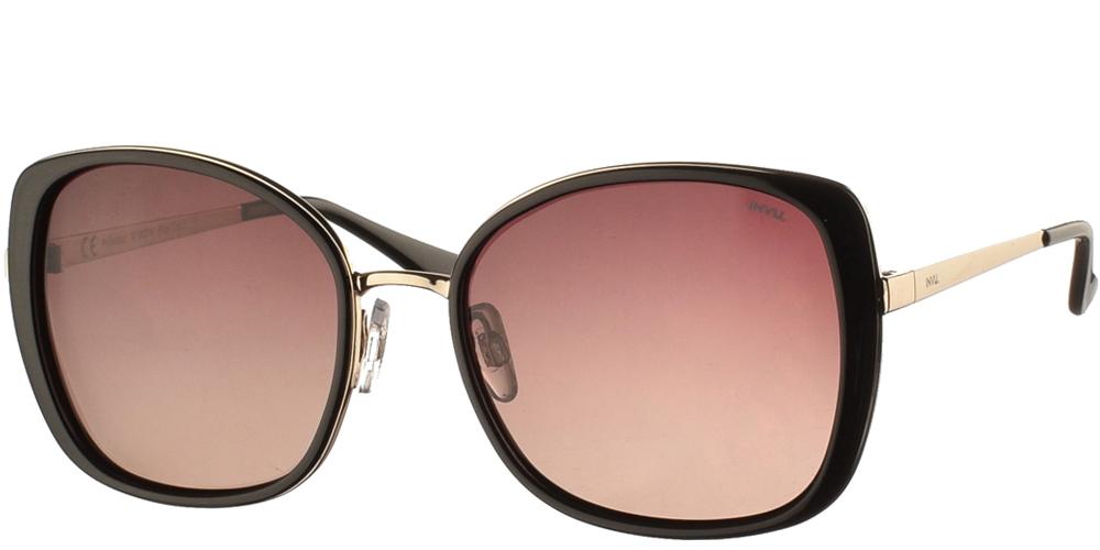 Διαχρονικά κοκάλινα γυναικεία γυαλιά ηλίου B1907 σε μαύρο χρώμα, με χρυσές λεπτομέρειες και με καφέ ντεγκραντέ polarized φακούς της εταιρίας Invu για μεσαία και μεγάλα πρόσωπα.