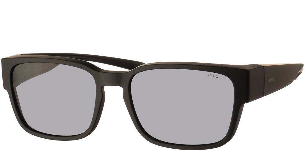 Διαχρονικά κοκάλινα ανδρικά γυαλιά ηλίου E2805 A σε μαύρο ματ σκελετό με γκρι polarized φακούς της εταιρίας Invu για όλα τα πρόσωπα.
