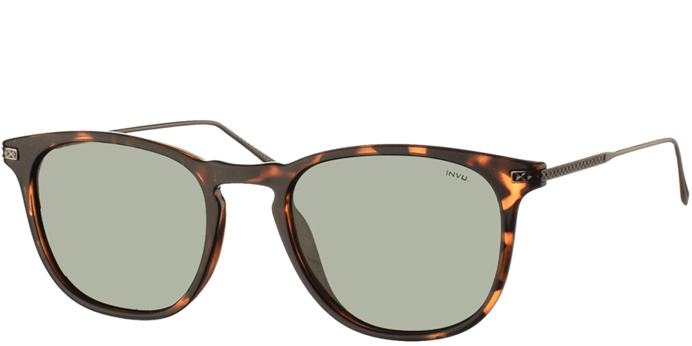 Διαχρονικά κοκάλινα ανδρικά γυαλιά ηλίου B2004 σε καφέ ταρταρούγα με πράσινους polarized φακούς της εταιρίας Invuγια όλα τα πρόσωπα.