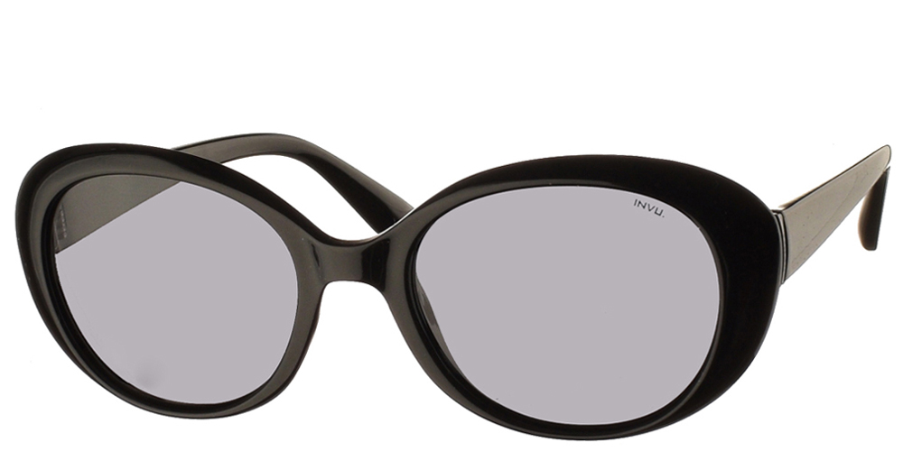 Διαχρονικά κοκάλινα γυναικεία γυαλιά ηλίου B2022 A σε μαύρο χρώμα με γκρι polarized φακούς της εταιρίας Invu για μικρά και μεσαία πρόσωπα.