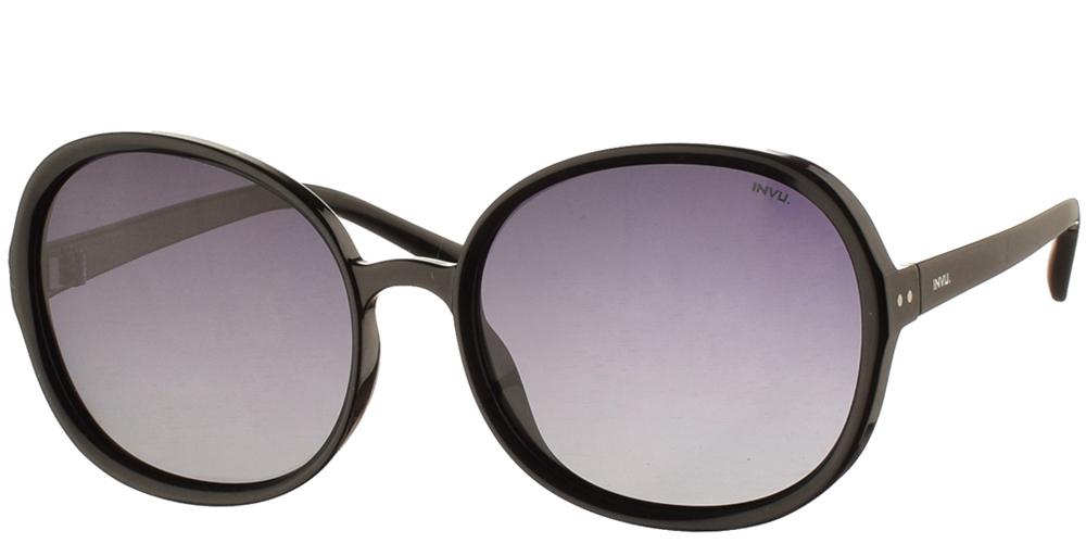 Διαχρονικά κοκάλινα γυναικεία γυαλιά ηλίου B2040 σε μαύρο χρώμα με γκρι ντεγκραντέ polarized φακούς της εταιρίας Invu για μεσαία και μεγάλα πρόσωπα.