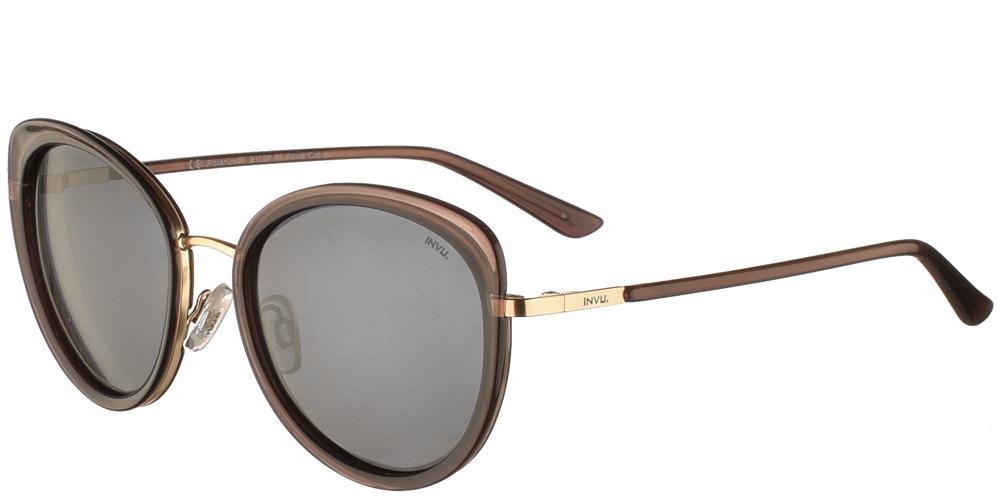 Διαχρονικά κοκάλινα γυναικεία γυαλιά ηλίου πεταλούδα B1027 B σε καφέ σκελετό, με χρυσές λεπτομέρειες και με γκρι polarized φακούς της εταιρίας Invu για μεσαία και μεγάλα πρόσωπα.