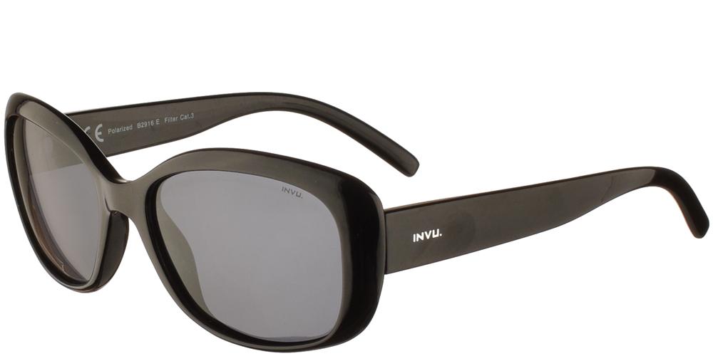 Διαχρονικά κοκάλινα γυναικεία γυαλιά ηλίου B2916 E σε μαύρο χρώμα με γκρι polarized φακούς της εταιρίας Invuγια μικρά και μεσαία πρόσωπα.