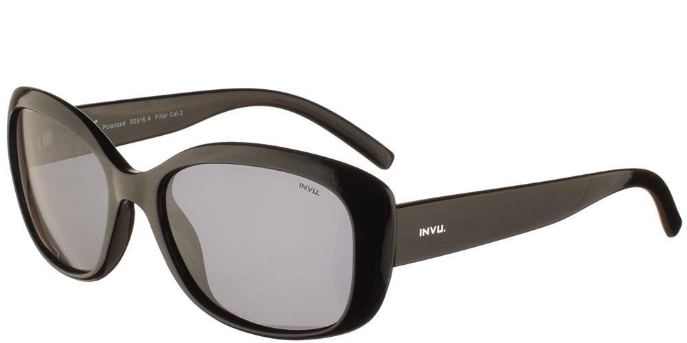 Διαχρονικά κοκάλινα γυναικεία γυαλιά ηλίου B2916 A σε μαύρο χρώμα με γκρι polarized φακούς της εταιρίαςInvuγια μικρά και μεσαία πρόσωπα.