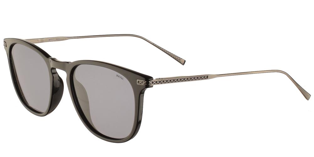 Διαχρονικά κοκάλινα ανδρικά γυαλιά ηλίου B2004 σε μαύρο σκελετό με γκρι polarized φακούς της εταιρίας Invuγια όλα τα πρόσωπα.