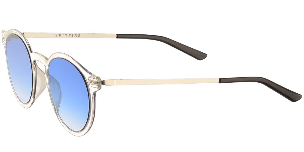 Ανδρικά και γυναικεία στρογγυλά γυαλιά ηλίου Spitfire British Summer Clear Blue σε διάφανο σκελετό και μπλε ντεγκραντέ φακούςγια όλα τα πρόσωπα.