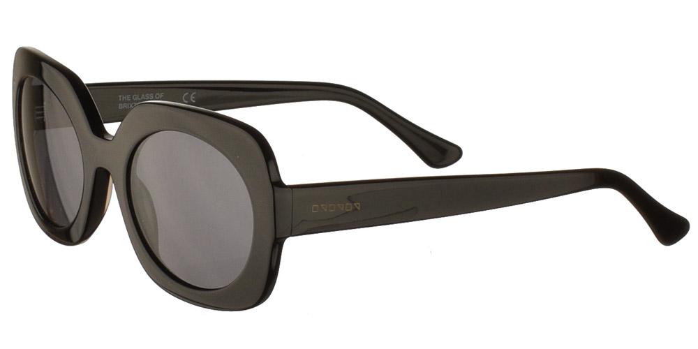 Γυναικεία κοκάλινα τετράγωνα γυαλιά ηλίου Dolcevita Black σε μαύρο χρώμα και σκουρόχρωμους γκρι φακούς της εταιρίας Glass of Brixtonγια όλα τα πρόσωπα.