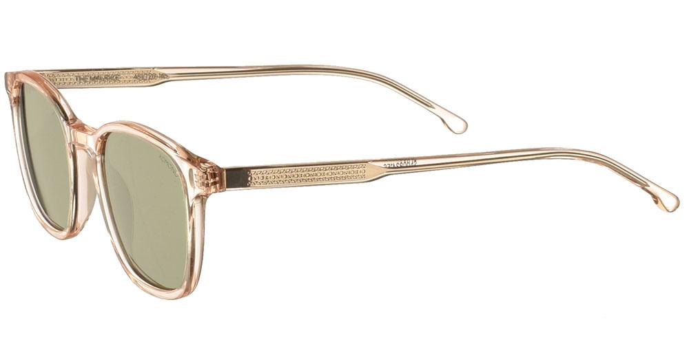Ανδρικά τετράγωνα κοκάλινα γυαλιά ηλίου Komono Maurice Champagne σε πολύ ανοιχτόχρωμο, διάφανο σαμπανιζέ σκελετό και πράσινους polarized φακούς.